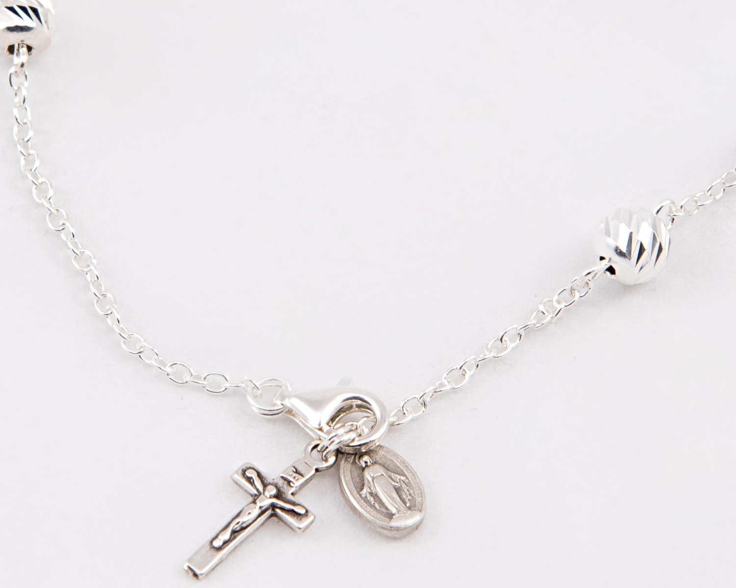 Sterling Silver Rosary Bracelet 6mm Beads Ear Pattern Loreto