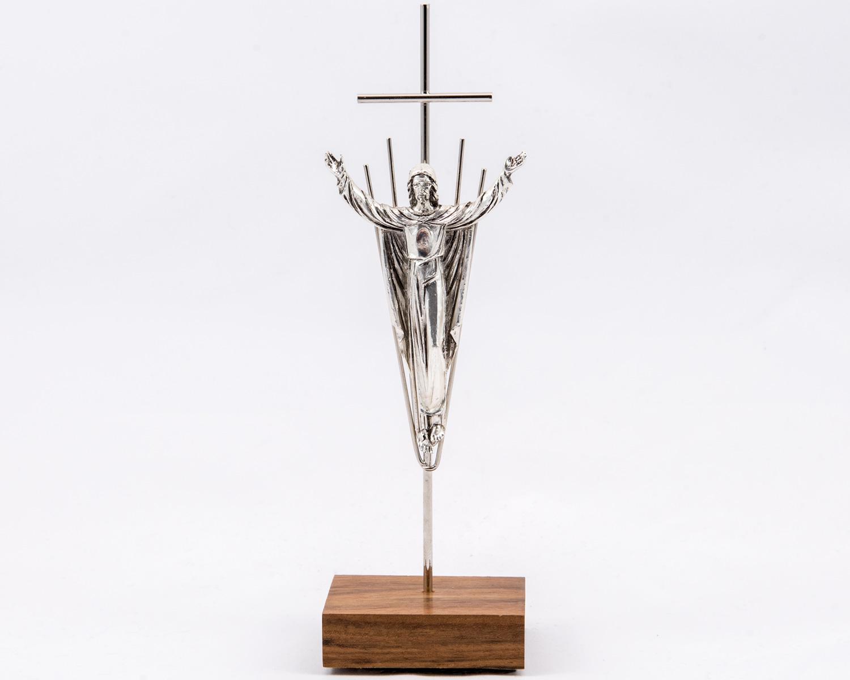 Risen Christ Crucifix with base (Wood + Metal - Silvery Finish)