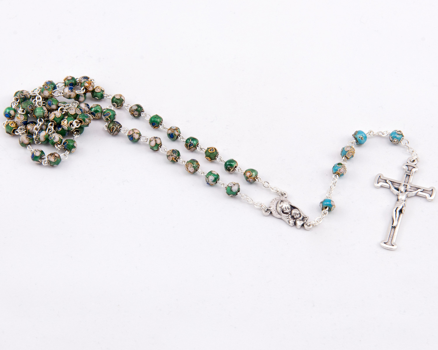 Green Cloisonné Rosary - 6mm beads