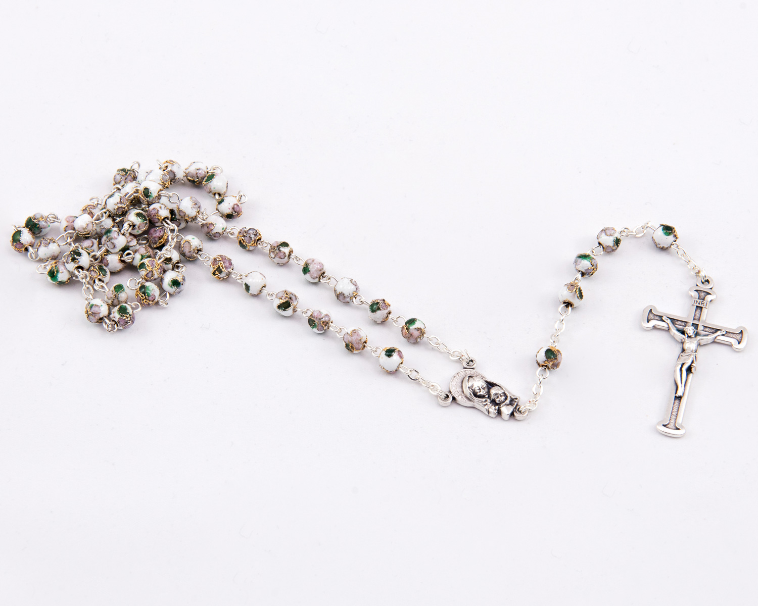 White Cloisonné Rosary - 6mm beads