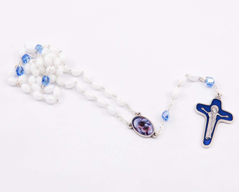 White-Blue Glass/Plastic Saint Teresa of Calcutta Rosary - 4x6mm beads