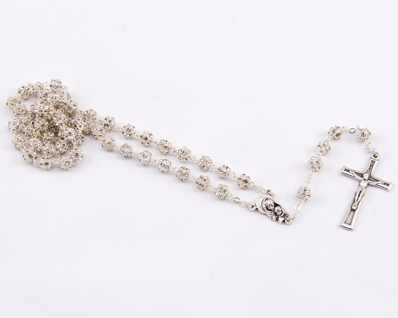 Rhinestones & Silver Metal Rosary