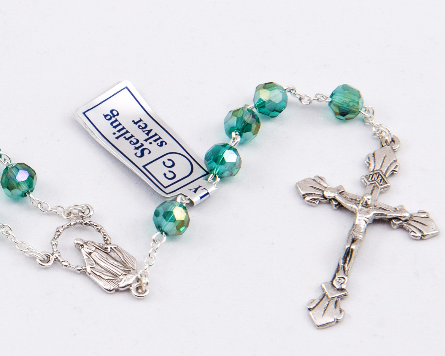 Emerald Crystal Amp Sterling Silver Precious Rosary 6mm